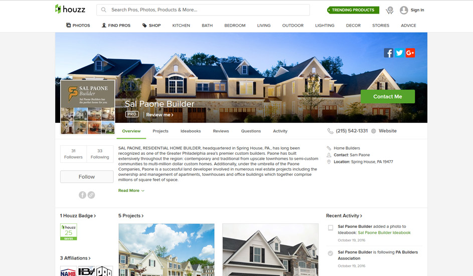 Sal Paone Builders Houzz page
